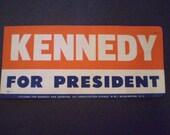 orig KENNEDY for President BUMPER STICKER 1960