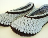 Slipper Socks in Light Grey and Coffee US Womens Sizes 3 - 12