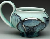Handmade Porcelain Mug: Aqua (Blue- Green) Coffee Cup with Black Floral Design and Silver Luster Accents