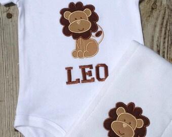 Lion One piece and Burp Cloth set