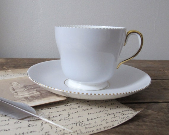 Vintage Wedgwood Teacup and Saucer, Dove Grey with Gold