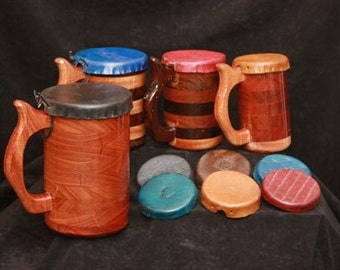 Mug - Tankard Leather Lids for X-Large Beer Mugs, Steins, Wooden Drinking Vessel Lid, Lid for Beer Mug, Leather Lid for Stein