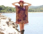 Gypsy Kaftan Dress Tunic with Fringe Boho Style One Size PURPLE Metallic