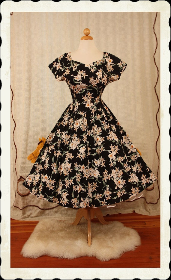 RESERVED 1950's Style New Look Crisp Inky Black Cotton Hawaiian Party Dress or Sun Dress w/ White Orchid Print by Royal Creations - L to XL