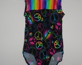 Black with bright colored peace signs girls leotard