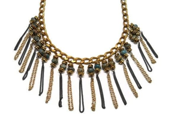 Bib Necklace Bohemian Jewelry Chain Fringe Stone Statement Necklace