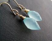 Aqua earrings, aqua blue chalcedony earrings, wire wrapped gemstone, aqua dangle earrings