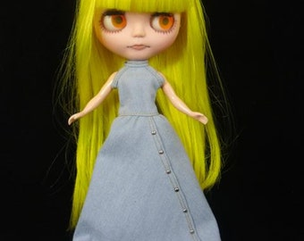 Neo Kenner Blythe doll Outfit Clothing Cloth Fashion costume Handmade denim long dress  002