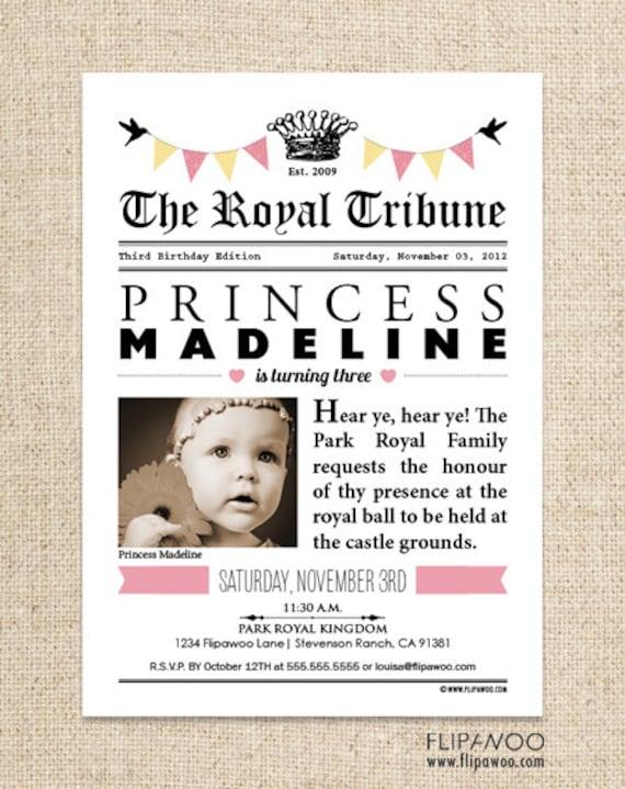 Princess Birthday Newspaper Invitation Design, Princess Birthday Invitation Party, Photo Princess Invitation, Princess Birthday Printable