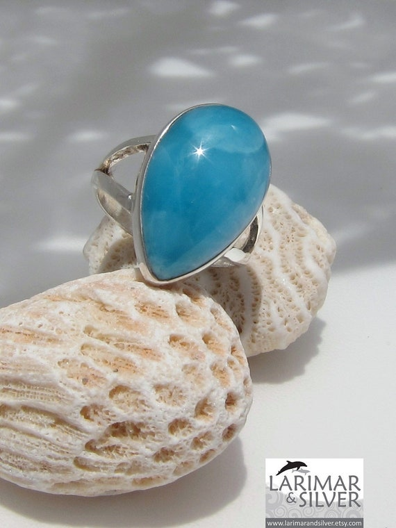 Larimar AAA ring size 7 1/2, The Color of Paradise - gorgeous Caribbean turquoise Larimar bold teardrop