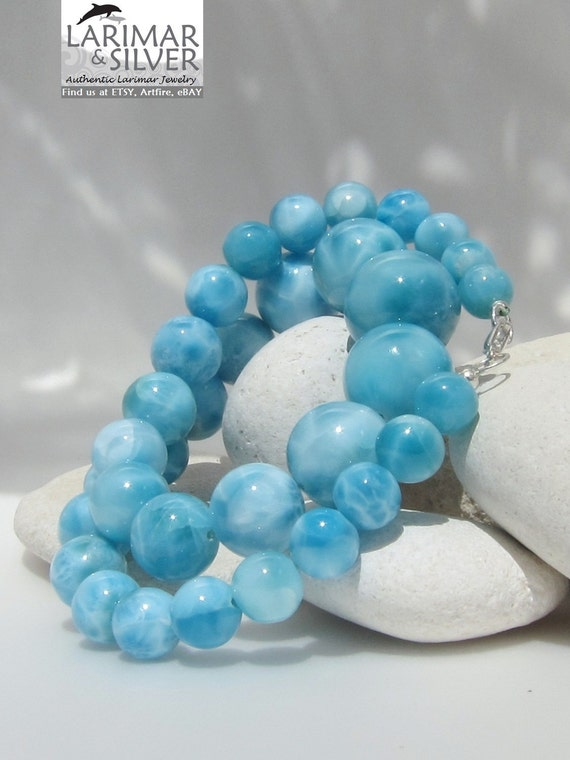 Larimar AAA necklace, Queen of the Nile - Splendid turtle back graduated turquoise blue beads necklace - 520, 0 ct