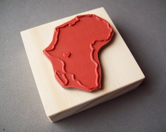 Custom Country Rubber Stamp - Any Country or Continent with a Heart - Africa Rubber Stamp