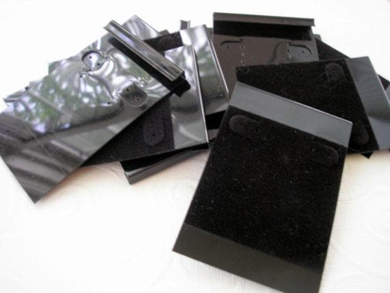 """100% Donation Earring Cards Black Flock 2"""" x 3"""" Destash TEN"""