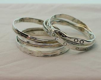 Stacking Bangles, Handcrafted Bracelet, Silver Bracelet,  925 Sterling Silver Bracelet, Silver Bangle , Gold filled  Bracelet
