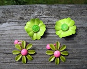 Flower Power 1960s Two Pair Of  Mod Boho  Hippie Hipster Enameled Pink and Green  Earrings In  Mint Condition
