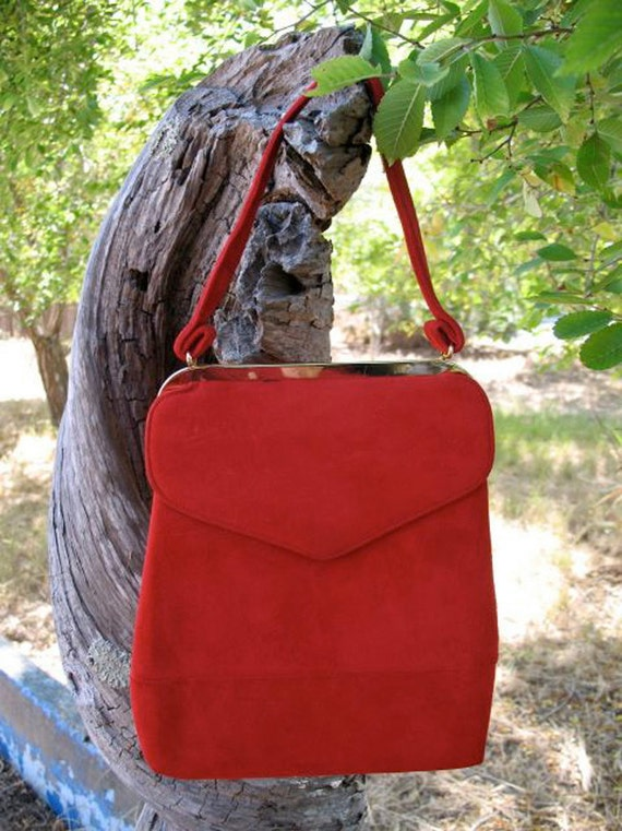 Gorgeous Madmen Era Fall  Red Suede Late 1950s Early 1960s Purse in Marvelous Condition
