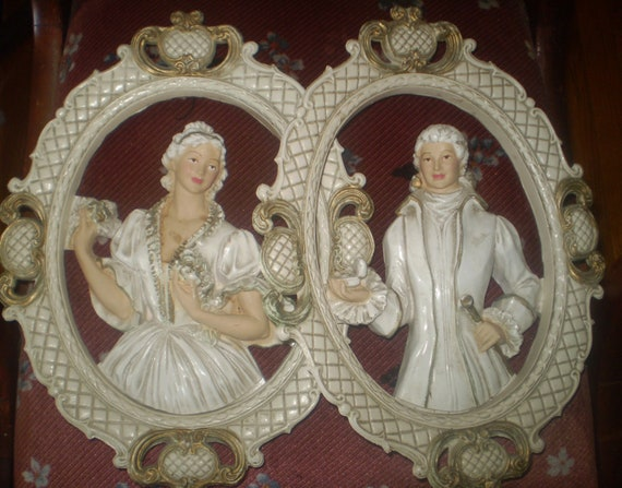 Plaster Of Paris Wall Designs: Items Similar To SALE Vintage Plaster Of Paris Romance 18