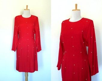 Vintage 80s red pearl studded dress pleated (medium)