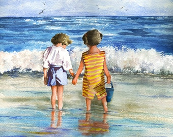 Children Standing by Ocean Edge, watercolor painting print LARGE GICLEE