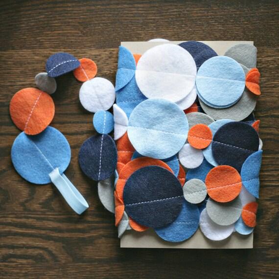 Felt Circle Garland - Orange, Blue, Gray and White - 20 ft