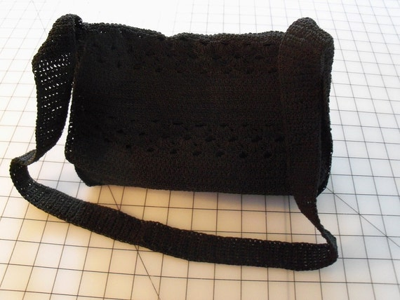 Vintage Black Crocheted Handbag or Purse