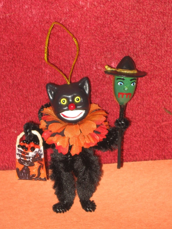 Vintage Style Altered Art Chenille HALLOWEEN TREE Ornaments Black CAT with Witch Stick and Candy Treat Bag