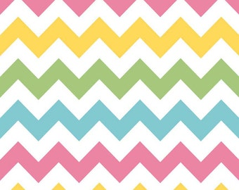 Pink Yellow Green and Aqua Girl Chevron Cotton for Riley Blake, 1 Yard