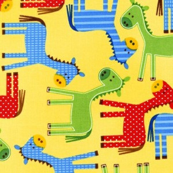 Bright Blue and Red Horse Fabric, Urban Zoology by Ann Kelle for Robert Kaufman, Horse Print in Primary Colors, 1 Yard