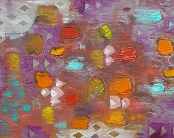 Original Abstract Painting Triangles Red Orange Maroon