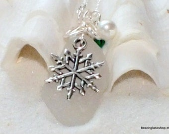 Sea Glass Necklace - White Glass Necklace - Lake Erie Beach Glass Jewelry - Snowflake Necklace