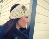 Ladies Oatmeal colored Crochet Headwrap/Headwarmer for fall/winter with buttons