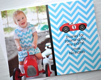 Boys Birthday Thank You Cards, Invitations, Chevron - Race Car Birthday - Party Decorations in Blue, Red, Yellow & Black - Set of 10