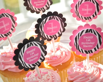 12 Cupcake Toppers - Girl's 1st Birthday Party - Zebra Stripe - Pink, Black and White - Party Decorations