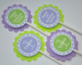 12 Cupcake Toppers - Polkadots Lavender Purple and Lime Green - Girls Birthday Party Decorations