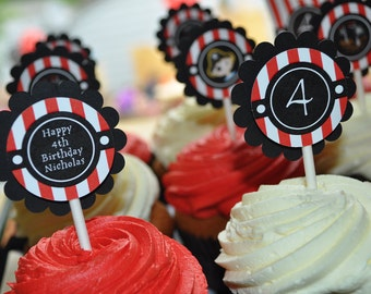 Pirate Party Cupcake Toppers, Boys Pirate Birthday Party Decorations, Pirate Party Theme, Boys Birthday Decorations - Set of 12