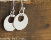 Simple Circle Sterling Silver Earrings - Rustic Hammered Finish