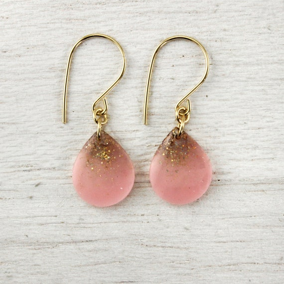 pink and gold glitter teardrop earrings with on 14k gold fill earwires - pink drop earrings