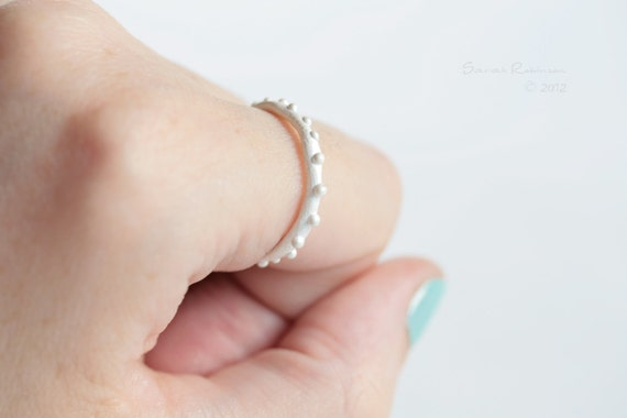 White Little Bubbles Ring Sterling Silver Organic Look T13