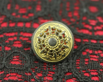Metal Buttons - Medieval Filigree Metal Buttons , Gunmetal Yellow Color , Domed , Openwork , Shank , 0.67 inch , 10 pcs