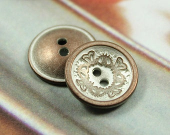 Metal Buttons - Floral Carving Metal Buttons , Copper Patina Color , Concave , 4 Holes , 0.59 inch , 10 pcs