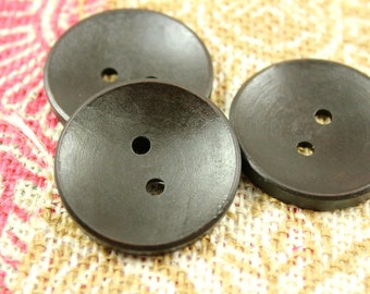 Wooden Buttons - Classy Concave Dark Brown Wooden Buttons, 1.58 inch (10 in a set)