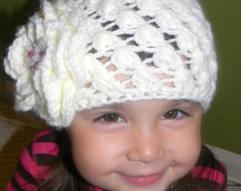 Baby girl beanie, soft white with a big flower