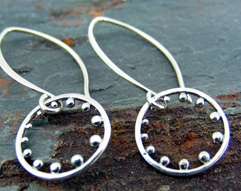 Sterling Silver Hoop Earrings with Silver Dots - Silver Drop Earrings, Simple Earrings, Dangle Earrings,