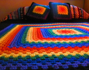 Proud Rainbow Crochet Afghan Giant Granny Square Full Size Bedding Bedspread Blanket Cover Handmade Home Decor Furnishings Cottage Chic