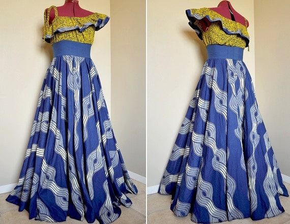 RESERVED for GB - Sun Over Sea -  Long Ethnic Bohemian Gown, Ooak One shoulder African Maxi dress, Blue Yellow, best fit sizes - S to L
