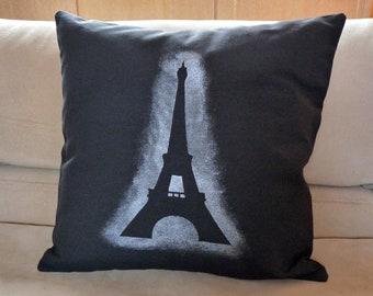 Eiffel Tower Pillow Cover - 18 x 18 Modern Black and Silver Pillow Case -  Paris Decorative Pillow