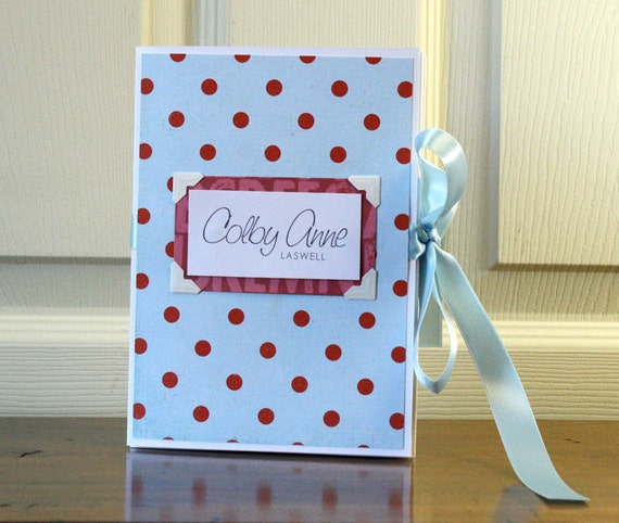 Baby Book, Gender Neutral, Red Polka Dots and blue