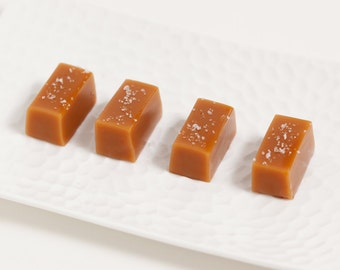 Caramel Edible Fall or Summer Wedding Favors - Fleur de Sel Caramels - 100 guests - As Seen in Martha Stewart Weddings