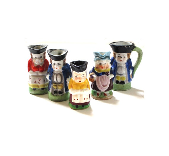 Vintage Small Colonial Toby Mugs Set of 5 marked Japan