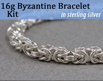 16g Byzantine Bracelet Chainmaille Kit in Sterling Silver